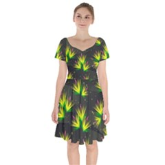 Floral Abstract Lines Short Sleeve Bardot Dress