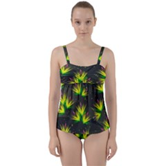 Floral Abstract Lines Twist Front Tankini Set