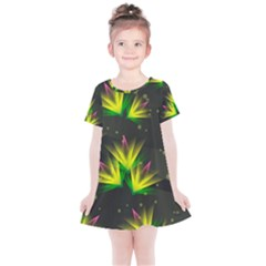 Floral Abstract Lines Kids  Simple Cotton Dress