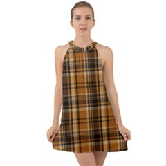 Tartan Design Halter Tie Back Chiffon Dress by impacteesstreetwearfour