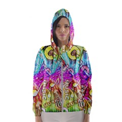 Music Abstract Sound Colorful Women s Hooded Windbreaker by Mariart