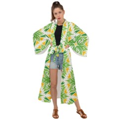 Green Pattern Retro Wallpaper Maxi Kimono by AnjaniArt