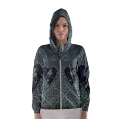 Elegant Heart With Piano And Clef On Damask Background Women s Hooded Windbreaker