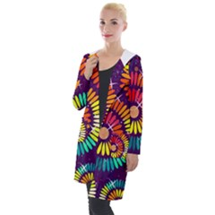 Abstract Background Spiral Colorful Hooded Pocket Cardigan by HermanTelo