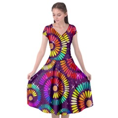 Abstract Background Spiral Colorful Cap Sleeve Wrap Front Dress by HermanTelo