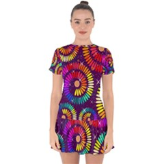 Abstract Background Spiral Colorful Drop Hem Mini Chiffon Dress by HermanTelo