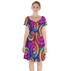 Abstract Background Spiral Colorful Short Sleeve Bardot Dress