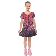Abstract Background Wallpaper Kids  Short Sleeve Velvet Dress
