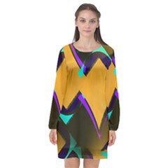 Geometric Gradient Psychedelic Long Sleeve Chiffon Shift Dress