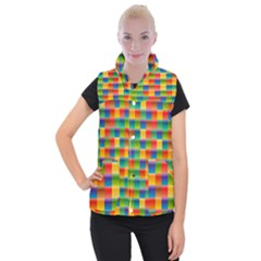 Background Colorful Abstract Women s Button Up Vest
