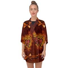 Beautiful Heart With Leaves Half Sleeve Chiffon Kimono