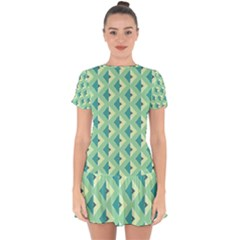 Background Chevron Green Drop Hem Mini Chiffon Dress