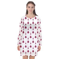Pattern Card Long Sleeve Chiffon Shift Dress