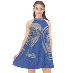 Heart Love Valentines Day Halter Neckline Chiffon Dress