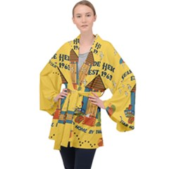Seaside Heights Beach Club 1960s Long Sleeve Velvet Kimono  by Alchemy