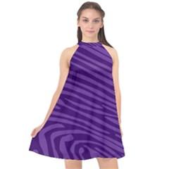 Pattern Texture Purple Halter Neckline Chiffon Dress