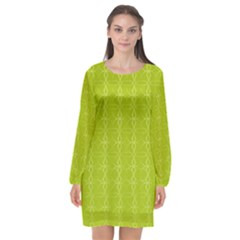 Background Texture Pattern Green Long Sleeve Chiffon Shift Dress  by HermanTelo