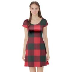 Canadian Lumberjack Red And Black Plaid Canada Short Sleeve Skater Dress by snek