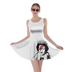 Banksy Graffiti Uk England God Save The Queen Elisabeth With David Bowie Rockband Face Makeup Ziggy Stardust Skater Dress by snek