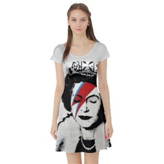 Banksy Graffiti Uk England God Save The Queen Elisabeth With David Bowie Rockband Face Makeup Ziggy Stardust Short Sleeve Skater Dress by snek