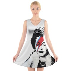 Banksy Graffiti Uk England God Save The Queen Elisabeth With David Bowie Rockband Face Makeup Ziggy Stardust V Neck Sleeveless Dress by snek