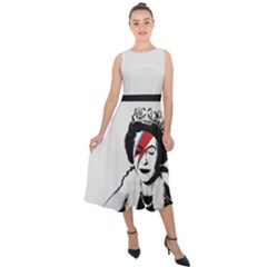 Banksy Graffiti Uk England God Save The Queen Elisabeth With David Bowie Rockband Face Makeup Ziggy Stardust Midi Tie Back Chiffon Dress by snek