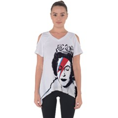 Banksy Graffiti Uk England God Save The Queen Elisabeth With David Bowie Rockband Face Makeup Ziggy Stardust Cut Out Side Drop Tee by snek