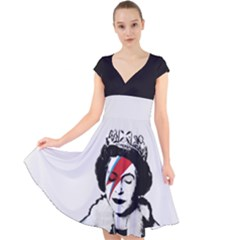 Banksy Graffiti Uk England God Save The Queen Elisabeth With David Bowie Rockband Face Makeup Ziggy Stardust Cap Sleeve Front Wrap Midi Dress by snek
