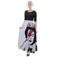 Banksy Graffiti Uk England God Save The Queen Elisabeth With David Bowie Rockband Face Makeup Ziggy Stardust Half Sleeves Maxi Dress by snek