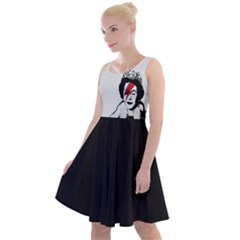 Banksy Graffiti Uk England God Save The Queen Elisabeth With David Bowie Rockband Face Makeup Ziggy Stardust Knee Length Skater Dress by snek