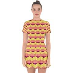 Background Colorful Chevron Drop Hem Mini Chiffon Dress