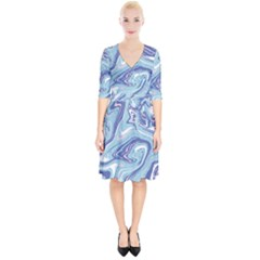 Blue Vivid Marble Pattern Wrap Up Cocktail Dress