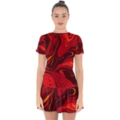 Red Vivid Marble Pattern Drop Hem Mini Chiffon Dress by goljakoff