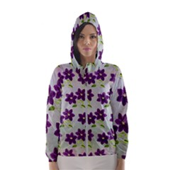 Purple Flower Women s Hooded Windbreaker by HermanTelo