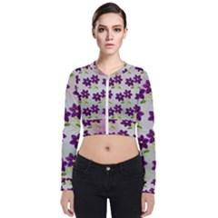 Purple Flower Long Sleeve Zip Up Bomber Jacket by HermanTelo