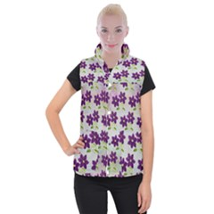 Purple Flower Women s Button Up Vest by HermanTelo