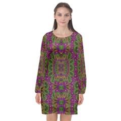 Peacock Lace In The Nature Long Sleeve Chiffon Shift Dress  by pepitasart