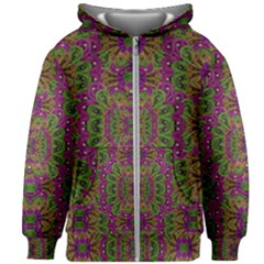 Peacock Lace In The Nature Kids  Zipper Hoodie Without Drawstring
