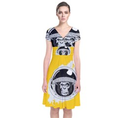 Spacemonkey Short Sleeve Front Wrap Dress