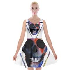 Colorful Paint Skull Velvet Skater Dress by goljakoff