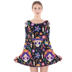 Dia De Los Muertos Long Sleeve Velvet Skater Dress by Sobalvarro