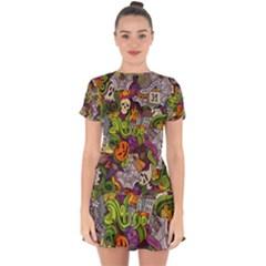 Halloween Doodle Vector Seamless Pattern Drop Hem Mini Chiffon Dress