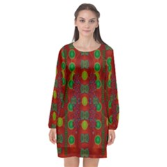 In Time For The Season Of Christmas Long Sleeve Chiffon Shift Dress
