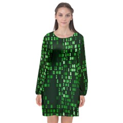 Abstract Plaid Green Long Sleeve Chiffon Shift Dress  by HermanTelo