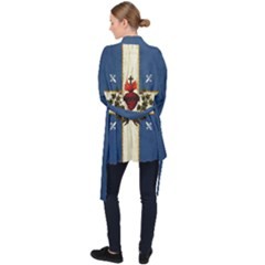 Quebec Flag Drapeau Québec Patriote Carillon Sacré-coeur Christian Catholic Old Vintage With Fleurs De Lys Long Sleeve Velvet Kimono  by Quebec