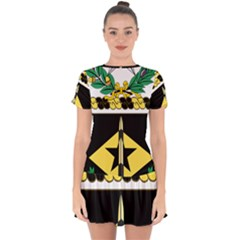 Coat Of Arms Of United States Army 49th Finance Battalion Drop Hem Mini Chiffon Dress
