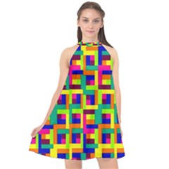 Ab 77 Halter Neckline Chiffon Dress