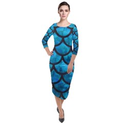 Mermaid Blue Quarter Sleeve Midi Velour Bodycon Dress by bloomgirldresses