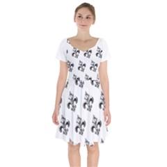 French France Fleur De Lys Metal Pattern Black And White Antique Vintage Short Sleeve Bardot Dress