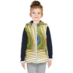 Peacock Feather Plumage Colorful Kids  Hooded Puffer Vest by Sapixe